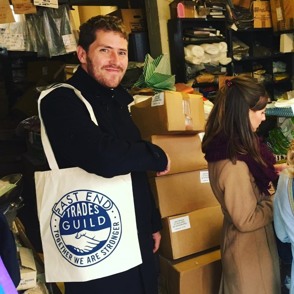 Stephen Gardner son op Paul Gardner from founders Gardners' Bags, sporting one of our totes